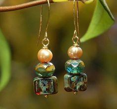 Forest handmade glass earrings by Laughingdogstudio on Etsy