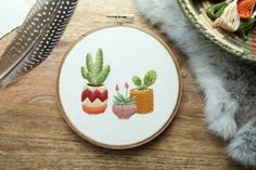 MADE TO ORDER  Cactus Hoop Art Cactus Art by TheWildnessCo on Etsy