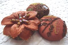 Copper floral mix  3 fabric covered buttons ♡ by EmbellishedLife2