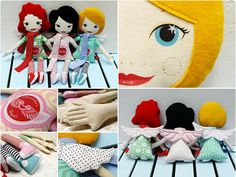 Dolls with printed faces and shoes - I made a long time ago for an exhibition in L.A.