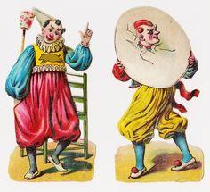 Victorian Die Cut Scraps, Clowns - Circus