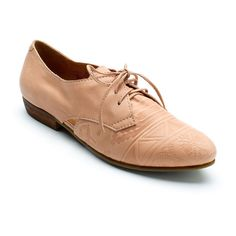 Latigo Nude Junebug Leather Oxford ($35) ❤ liked on Polyvore featuring shoes, oxfords, print shoes, synthetic shoes, genuine leather shoes, pattern leather shoes and patterned shoes