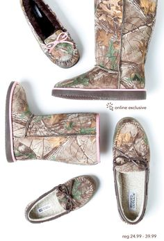 Cozy up in Camo - Buy One Get 2nd Pair 50% Off. Reg 24.99 - 39.99   Online Exclusive  #RealtreeXtra #camoshoes #Sale