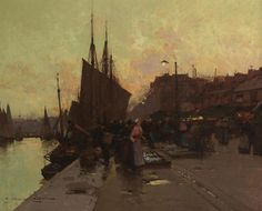 Порт в Бретани (38 х 46.5 см) (ч.с.). Eugene Galien-Laloue