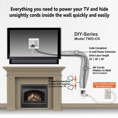 PowerBridge ~ Model TWO-CK ~ Fireplace Extension Kit. This is simply the easiest to install in-wall power cable management system available! over fireplace, Hiding Wires for a TV Above Fireplace ~ Extension Kit ~ PowerBridge Tv Mount Over Fireplace, Above Fireplace Ideas, Mounted Fireplace, Fireplace Tv Wall, Fireplace Remodel, Wall Mounted Tv, Living Room With Fireplace, Fireplace Design, Tv Above Mantle