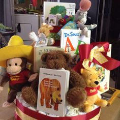 Adorable not diaper cake, however use stuffed animal/e-book decorations for mantle, finish tables,...