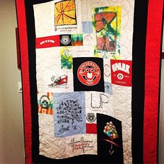 Finished! T-Shirt quilt with 10 years of Fun Run shirts. Longarm quilted by @debrabingham42 #tshirtquilt #quilt #quilting