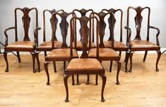 Set Of 8 Mahogany Queen Anne Style Dining Chairs - Antiques Atlas
