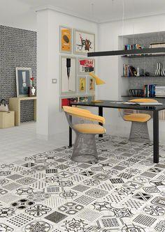 Produit grès cérame émaillé VODEVIL, finition: carreaux ciment déco, scène: salon | VIVES Azulejos y Gres S.A.