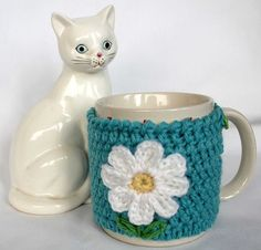 Daisy Mug Cozy Cup Cosy Mug Warmer Crochet aqua by CageFreeFibers, $10.00