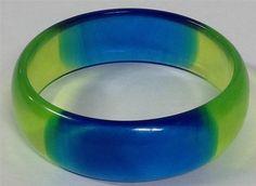 Vintage BLUE AND GREEN Hard Smooth Plastic Resin Like Lucite Bangle Bracelet #Bangle