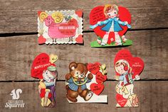 Group of 5 Vintage Valentine Cards - Heart, love, Bear, Sheep, Monkey, Astronaut, Beau, Jet, 1950s, 1960s, 1970s by CaffeinatedSquirrel on Etsy