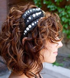 short curly hair and an adorable head band!
