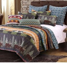 The Black Bear Lodge Bonus quilt set brings a wilderness adventure to your alpine cabin or suburban home. Featuring moose, black bear, evergreen trees and snow-capped mountains, combined with a rustic native print reverse, this Bonus quilt set evokes Rustic Quilts, Rustic Bedding, Country Bedding, Western Bedding, Rustic Bedrooms, Coastal Bedding, Modern Bedding, Duvet, Quilt Bedding