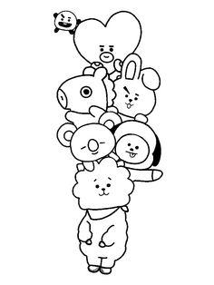 Imagen relacionada – Keep up with the times. Cute Doodle Art, Doodle Art Designs, Doodle Art Drawing, Outline Art, Outline Drawings, Tattoo Outline Drawing, Kpop Drawings, Art Drawings For Kids, Kawaii Doodles