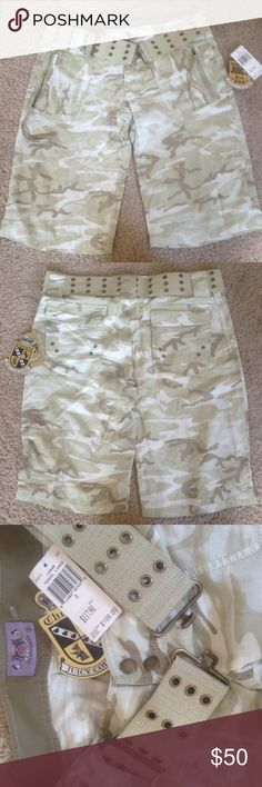 """Juicy Couture camo shorts Brand new Juicy Couture camo print shorts. Lunar tencel linen, comes with military style belt. Two zippered pockets in front, 2 flap pockets in back. Model is 5'1"""", so could be a lot shorter on someone taller. Juicy Couture Shorts Bermudas"""