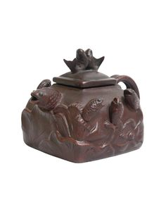 Vintage Hand-crafted Oriental Yixing Clay Teapot - Koi Pond (16 oz)
