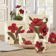 16-Piece Poppy Dinnerware Set New $59.95 & Red Poppy Dinnerware by Pier 1. | :: Everything Else but the Kitchen ...