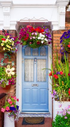 Flower pots outside the front door of a terraced house, London, England, UK