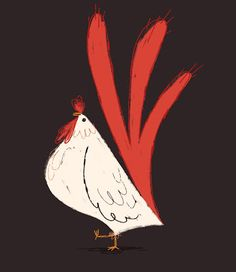 Le coque by ian abando. Rooster Illustration, Chicken Illustration, Rooster Art, Chicken Art, Chickens And Roosters, Bird Art, Illustrators, Folk Art, Drawings