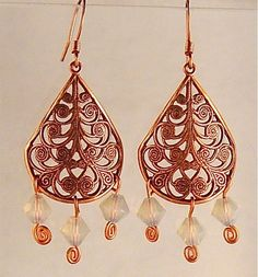 Copper Crystal Earrings (Customer Design) - Lima Beads