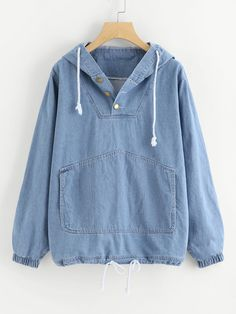 SheIn offers Kangaroo Pocket Hooded Denim Sweatshirt & more to fit your fashionable needs. Girls Fashion Clothes, Teen Fashion Outfits, Clothes For Women, Mode Kpop, Mode Hijab, Kawaii Clothes, Denim Outfit, Cute Casual Outfits, Casual Wear