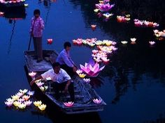 Lanterns on the Yangtse River in China