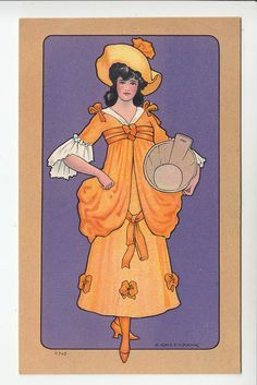 A. Greenbank: Beautiful Lady Milkmaid in Orange Gown - Chromo PC c.1900s (940)