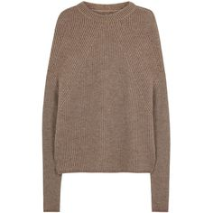 Rick Owens Taupe ribbed cashmere blend jumper (3,195 SAR) ❤ liked on Polyvore featuring tops, sweaters, jumpers sweaters, striped top, rick owens, rick owens sweaters and ribbed sweater