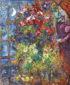 Marc Chagall, Les amoureux aux fleurs devant la fenêtre  on ArtStack #marc-chagall #art