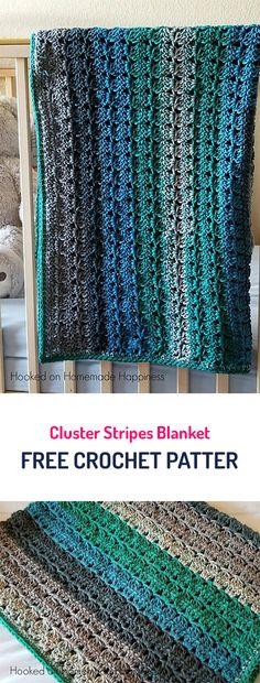 Cluster Stripes Blanket Free Crochet Pattern