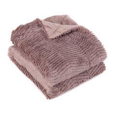 Mauve Faux Fur Chevron Throw Blanket | Kirklands