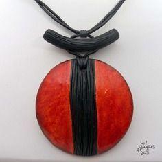 Gros collier rouge et noir style asiatique