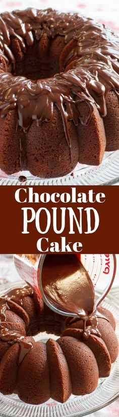 Chocolate Pound Cake ~ rich and decadent, this easy to make dessert is topped with a silky smooth chocolate glaze - perfect for the chocoholic in your life!  http://www.savingdessert.com