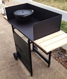DIY Dutch Oven Cooking table Nice design idea for reclaimed old bbq. Fire Cooking, Cast Iron Cooking, Oven Cooking, Outdoor Cooking, Cooking Fish, Cooking Steak, Cooking Torch, Cooking Lamb, Cooking Turkey