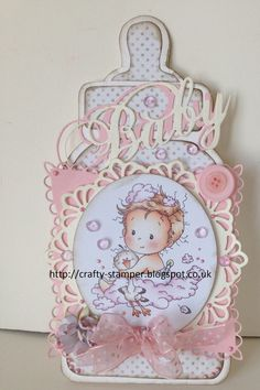 I have just bought a new baby Bottle template from Dutch Doobadoo and had to have a play.Cardstock is from Papermill Direct,pre-coloured top. Baby Girl Cards, New Baby Cards, Baby Christening Gifts, Baby Gifts, Baby Gift Wrapping, Card Making Templates, Welcome Baby Girls, Baby Barn, Whimsy Stamps