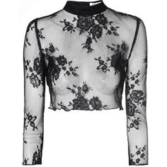 Black Sheer Lace Crop Top (130 AED) ❤ liked on Polyvore featuring tops, shirts, black, black crop shirt, long sleeve shirts, sheer black lace top, high neck crop top and shirts & tops