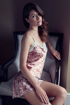 This rose-printed silk camisole and French knickers set feels luxurious next to your skin.