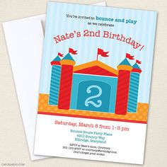 Bounce House party  Set of 15 custom invitations  by Chickabug, $30.00