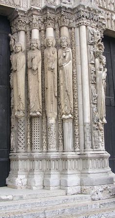 Chartres Cathedral is a medieval Roman Rite Catholic cathedral located in Chartres, France, about 80 kilometres (50 mi) southwest of Paris.