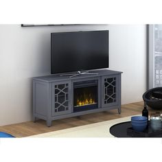 Classic Flame Clarion 54 in. Media Console Electric Fireplace in Cool Gray