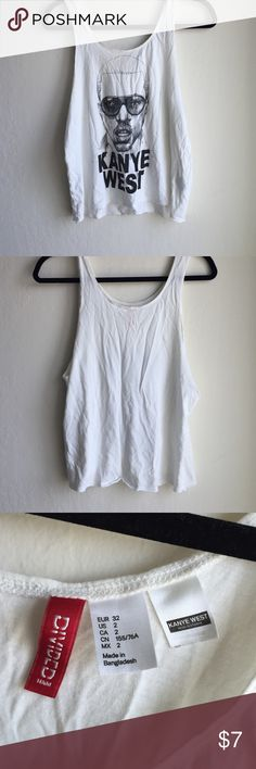 Kanye West Tank Top 100% cotton tank top with a picture of Kanye West. Only worn once! Divided Tops Tank Tops