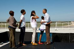 Photo: President Barack Obama, First Lady Michelle Obama, daughters Sasha and Malia, and Marian Robinson, stand on the viewing platform where they would. Michelle Obama, Happy Birthday Mr President, Important People In History, Barack Obama Family, Obama President, Presidente Obama, Malia And Sasha, World Leaders, Happy Fathers Day