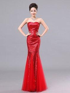 Sequined Lace Cheongsam Mermaid Strapless Sweetheart Flashing Wedding Dress