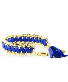 Leather Woven Chain Bracelet - Cobalt- Seen In Redbook Magazine