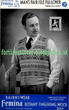 1940's Knitting - Barins Wear Man's Fair Isle Pullover Free pattern