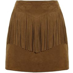 Saint Laurent Fringed suede mini skirt (1,575 CAD) ❤ liked on Polyvore featuring skirts, mini skirts, bottoms, saias, faldas, short skirts, boho skirt, bohemian style skirts, brown suede mini skirt and zipper skirt
