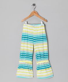 Take a look at this Yellow & Turquoise Stripe Ruffle Pants - Toddler & Girls by Ruby and Rosie on #zulily today!