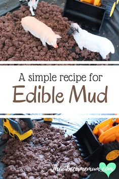Simple recipe for edible mud. Great for tuff trays and messy play ideas and for adding to novelty cakes. Edible Sensory Play, Baby Sensory Play, Baby Play, Baby Messy Play Ideas, Toddler Messy Play, Toddler Games, Toddler Learning, Play Based Learning, Learning Through Play