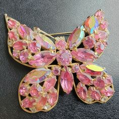 Vintage Pink, Crystal Rhinestone, Brooch Pin, Vintage Jewelry, Abs, Butterfly, Crystals, Brooch, Crunches